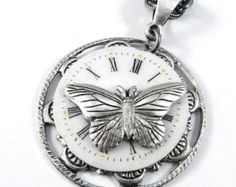 Steampunk Necklace, SALE Clockwork Butterfly Watch Face Teardrop, Steampunk Jewelry by Compass Rose Design