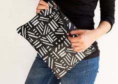 BOGO Printed leather clutch leather purse in black by LeahLerner
