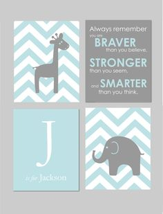 Gray Chevron Nursery - Gray Nursery - Elephant and Giraffe Modern Nursery Set  Always Remember You are Braver  by karimachal, $50.00
