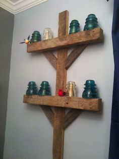 Antique insulators and barn wood became an awesome train electric pole for little boy train room Boys Train Room, Train Bedroom, Bedroom Art, Childs Bedroom, Bedroom Rustic, Rustic Decor, Farmhouse Decor, Western Decor, Rustic Barn