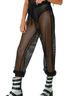 Club Exx Burn Baby Mesh Pants u can't help it babe, ur just incendiary! These dope af sheer mesh pants have a relaxed fit, fitted cuffs and an elastic waist with a drawstring closure. Neon Outfits, Rave Outfits, Mesh Pants, Sequin Outfit, Save The Queen, Online Clothing Stores, Black Mesh, Fur Jacket, Online Boutiques