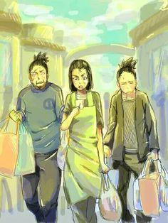 The Nara family: Shikamaru, Shikaku, and Yoshino. Boruto, Shikatema, Shikadai, Sarada Uchiha, Naruto Sharingan, Anime Naruto, Naruto Shippuden Anime, Naruto Art, Anime Manga