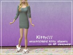So, Mr O made these adorable kitty slippers and I just had to put them on this sleepwear I made last year. So here it is :D It's Sentate's Catherine jumper with MrOstrichbird's converted kitty...