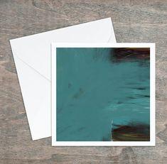 Carte de vœux, dessin abstrait original, turquoise rouge noir jaune, 5,25x5,25, intérieur blanc. Carton satiné, grande qualité, enveloppe. Turquoise Rouge, White People, Custom Map, Greeting Cards, Envelope, Originals, Impressionism, Yellow