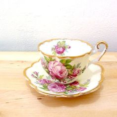 Vintage Windsor Tea Cup / Pink Rose Cup / Teacup and Saucer Set / 50s Teacup