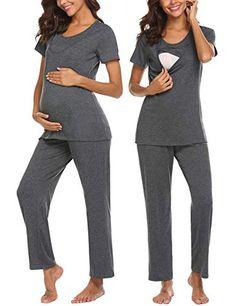 dedf8816fd0b0 UNibelle Women Nightwear Super Soft Maternity Nursing Pajamas Sleepwear  Loungewear Set Grey L