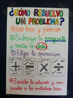 2-Pasos para resolver problemas aritméticos. Spanish Anchor Charts, Anchor Charts First Grade, Math Charts, Math Anchor Charts, Dual Language Classroom, Spanish Classroom, Math Poster, Primary Maths, Bilingual Education