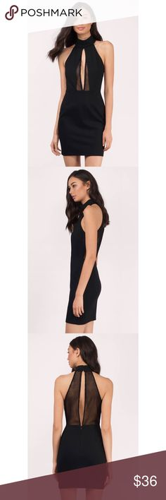 Mesh black dress Mesh Halter Dress features mesh front and back panels and a halter bodice. Form fitting for a chic silhouette. Back zipper closure and collar button loop closure. New with tag attached. Tobi Dresses Mini