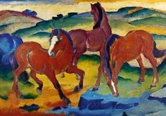 The Red Horses by Franz Marc. Franz Marc was born in Munich, Germany on February His father, Wilhelm Marc, was an amateur landscape painter. Franz Marc, Wassily Kandinsky, Painted Horses, Oil Painting On Canvas, Painting & Drawing, Canvas Art, The Animals, Blue Rider, Harvard Art Museum