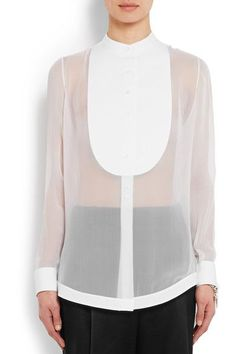 Givenchy - Shirt In White Silk-georgette And Cotton-poplin - FR40