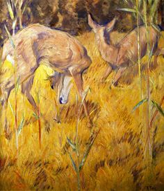 Franz Marc [GermanExpressionistPainter, 1880-1916] Deer in the Reeds 1909 oil on canvas Height: 89cm (35.04 in.), Width: 79cm ...