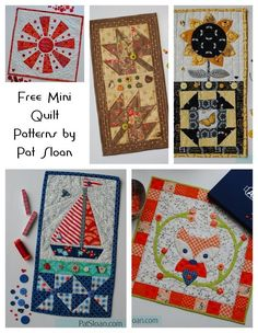 Sewing Block Qults Free Mini quilts to use with or without buttons. Pieced appliqued and fun to do! Small Quilt Projects, Quilting Projects, Sewing Projects, Hanging Quilts, Quilted Wall Hangings, Small Quilts, Mini Quilts, Quilt Kits, Quilt Blocks