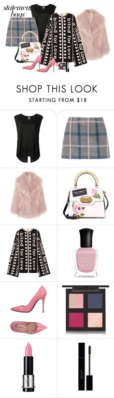 """""""Statment and mix"""" by claire86-c ❤ liked on Polyvore featuring Haute Hippie, Miu Miu, Dolce&Gabbana, Gucci, Deborah Lippmann, Marco Barbabella, The Body Shop and MAKE UP FOR EVER"""