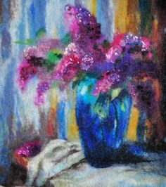 Felted picture. LILAC. OOAK. by Renefelt on Etsy