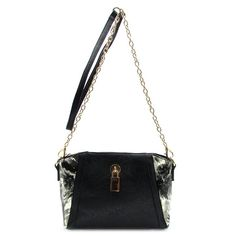 Black Floral Lock Messenger Bag This ladylike purse is the perfect way to make an elegant statement while stowing away all those essentials. The gold-tone chain strap is removable so it can be carried in-hand if desired. Everything about this beautiful quality bag says class, right down to the black and gray, satin-y floral lining. Posh by Nina Bags Crossbody Bags