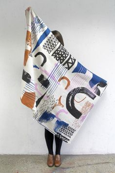 hand-painted textiles, by Laura Slater blanket with a beautiful abstract pattern and neutral color palette. Motifs Textiles, Textile Patterns, Print Patterns, Pattern Print, Art Textile, Textile Prints, Art Prints, Laura Slater, Fabric Design
