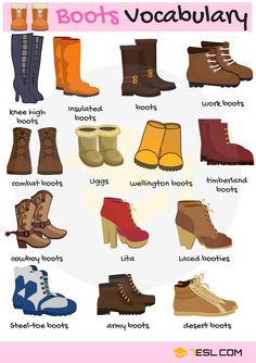 Types of Boots Useful Boot Names with Pictures is part of English vocabulary - Types of Boots! List of useful boot names in English with pictures and examples Learn these names of boots to enlarge your vocabulary words in English English Writing Skills, Learn English Grammar, English Vocabulary Words, Learn English Words, English Idioms, English Language Learning, English Lessons, Teaching English, English Teachers