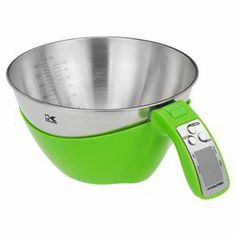 "Perfect your food prep with this essential measuring bowl scale, crafted of stainless steel and featuring a lime and silver finish.    Product: Measuring bowl scaleConstruction Material: Stainless steelColor: Lime green and silverFeatures:  1.5 Liter capacityAutomatically measures the volume of ingredientsLCD display Accommodates: (2) AAA Batteries - not includedDimensions: 11.5"" H x 8"" W x 4"" D"