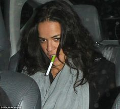 Michelle Rodriguez took the eco-friendly route by puffing a smoke-free cigarette in the backseat of a car Michelle Rodriguez, Buy Electronic Cigarette, Electronic Cigarettes, E Cigarette Brands, Smoke Shops, Hollywood, Vape Shop, Healthy Alternatives, Celebs