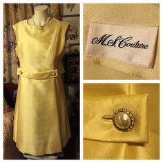 """Vintage Yellow Dress ~ M.S. COUTURE HOST PICK Chic Pale Yellow Dress w/a front faux belt by M.S. COUTURE. Decadent faux mobe pearl & rhinestone buttons tack down each end of the belt creating a flattering physique. Inside fully-lined; hidden back zipper. Excellent preowned condition. As with most vintage clothing, there is no size indication. Fabric appears to be a nubby silk, lining perhaps acetate. BUST: 38""""; WAIST: 34; LENGTH: 38"""". Smoke-free home. HOST PICK """"IT GIRL PARTY"""" Vintage…"""