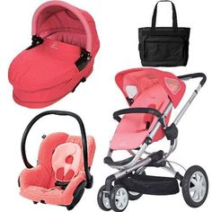 Quinny CV155BFXKT3 Buzz 3 Travel System And Dreami Bassinet In Pink Blush  With Diaper Bag |