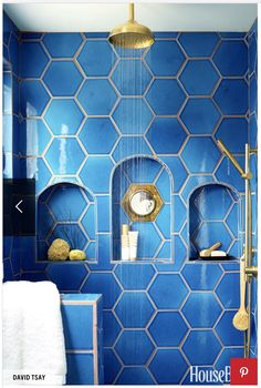 "Shampoo storage never looked so chic. In Justina Blakeney's ""Jungalow,"" the shower's niche is inset with a vintage mirror. Adriatic Sea hexagonal tiles are by Fireclay Tile. Bad Inspiration, Bathroom Inspiration, Bathroom Ideas, Gold Bathroom, Bathroom Designs, Shower Designs, Bathroom Colors, Bathroom Shelves, Bathroom Remodeling"