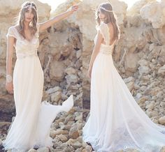 Beading Backless Boho 2015 Wedding Dresses Ruched Luxury Crystals Chiffon Long Beach Bridal Dress Backless Custom Made Vintage Wedding Gowns A Line Wedding Dresses Sweetheart Neckline A Line Wedding Dresses With Cap Sleeves From Xzy1984316, $161.97| Dhgate.Com