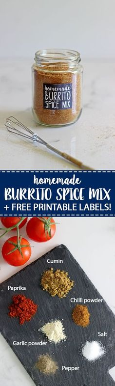 Homemade Burrito Spice Mix (or taco seasoning) - the perfect blend of spices to make your favourite Mexican meal in minutes! Perfect for beef burritos, nachos, chicken strips for tacos, refried beans or anything Mexican! #mexicanfood #tacotuesday #burritospicemix #tacoseasoning #easymeals #spicemix | thekiwicountrygirl.com
