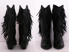 Black Leather Cowboy Boots with Fringe