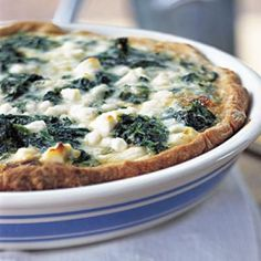 Healthy Spinach, Caramelized Onion, and Feta Quiche | CookingLight.com