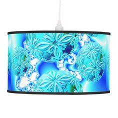 Blue Ice Crystals, Abstract Aqua Azure Cyan Fractal Hanging Lamps $101.00 #lamp #abstract