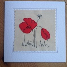 Handmade poppy flower card Birthday Anniversary Get well Thank you Sympathy. Can be personalised with your printed message on the front