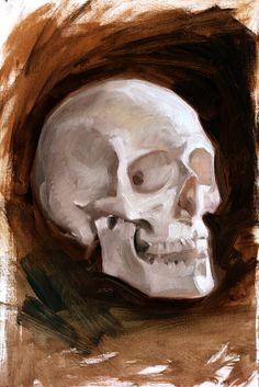 "Oil on cavas ""Alla prima""  skull life drawing - Elia Bonetti"