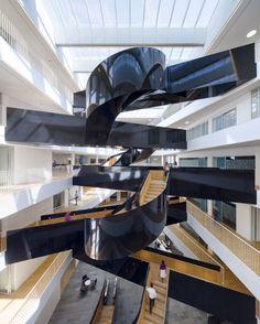 3XN, UN City, Copenhagen. Photo Adam Moerk #office #interior #staircase