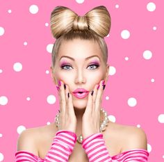 123RF - Millions of Creative Stock Photos, Vectors, Videos and Music Files For Your Inspiration and Projects. Beauty Routine Video, Beauty Routines, Pink Nail Art, Pink Nails, Pink Art, Pin Up Makeup, Beauty Makeup, Polka Dot Background, Funny Fashion