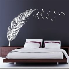 Left right flying feather wall stickers home decor adesivo de parede home decoration wallpaper wall art sticker PVC vinyl decals Wall Stickers Birds, Large Wall Stickers, Removable Wall Stickers, Wall Stickers Home Decor, Living Room Wall Stickers, Large Wall Murals, Wall Decals For Bedroom, Kitchen Wall Decals, Bird Wall Decals
