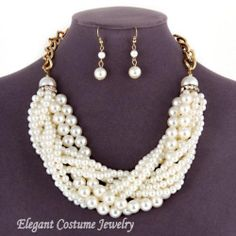 Braided Mixed Pearl Gold Statement Necklace Set Elegant Costume Chunky Jewelry