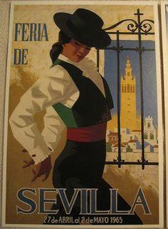 'Spain 1965 Seville April Fair Poster' T-Shirt by retrographics Illustrations Vintage, Illustrations Posters, Photo Vintage, Vintage Images, Vintage Travel Posters, Vintage Postcards, Spanish Art, Retro, Bunt