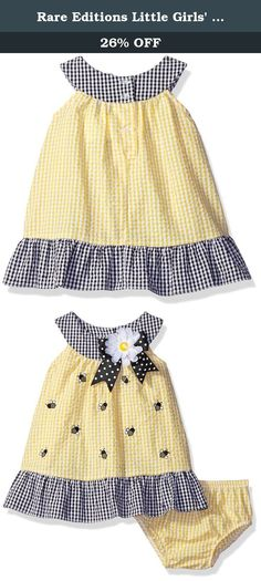 Rare Editions Little Girls' Seersucker Dress with Bee Appliques, Yellow/White/Black, 6 Months. Yellow, white check seersucker dress with bee appliques with panty.