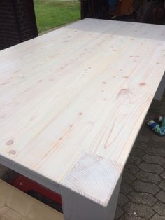 Esszimmertisch Platte in Kiesel transparent lackiert und auspoliert...