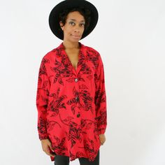 vintage 80s red abstract zebra FLORAL oversized TUXEDO tail shirt size L by PasseNouveauVintage, $24.00