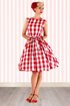Lindy Bop - 50s Audrey Picnic Swing Dress in Red And White