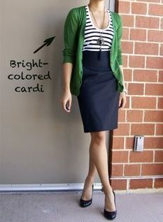 I like the bright cardigan. I love to layer but don't have a lot of different colored cardigans