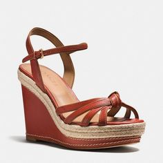 Coach Dalton Espadrille ($133) ❤ liked on Polyvore featuring shoes, sandals, leather espadrille sandals, genuine leather shoes, leather espadrilles, espadrille shoes and coach footwear