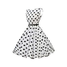 Rotita Vintage 50S Style White & Black Polka Dot Print Swing Dress ($22) ❤ liked on Polyvore featuring dresses, white, black and white dress, vintage dresses, white dress, white mini dress and white a line dress