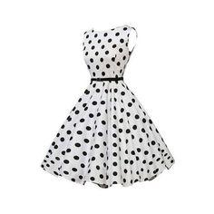 Rotita White Sleeveless Polka Dot Print A Line Dress (€16) ❤ liked on Polyvore featuring dresses, white, vintage dresses, long-sleeve mini dress, a line mini dress, vintage mini dress and white mini dress