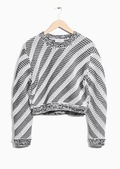 & Other Stories image 1 of Cropped Graphic Knit in White/Black