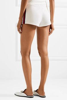 Ribbed Knit-trimmed Tech-jersey Shorts - White Gucci zrQtAcvp