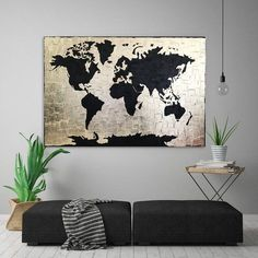 Black Gold art Gold Leaf painting Large World Map painting Gold World Map, World Map Art, World Map Canvas, World Map Bedroom, World Map Painting, Acrylic Portrait Painting, World Map Design, Map Wall Decor, Painted Leaves