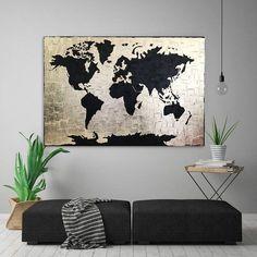 Black Gold art Gold Leaf painting Large World Map painting Gold World Map, World Map Art, World Map Canvas, World Map Wallpaper, Gold Wallpaper, World Map Bedroom, World Map Painting, Gold Drawing, World Map Design